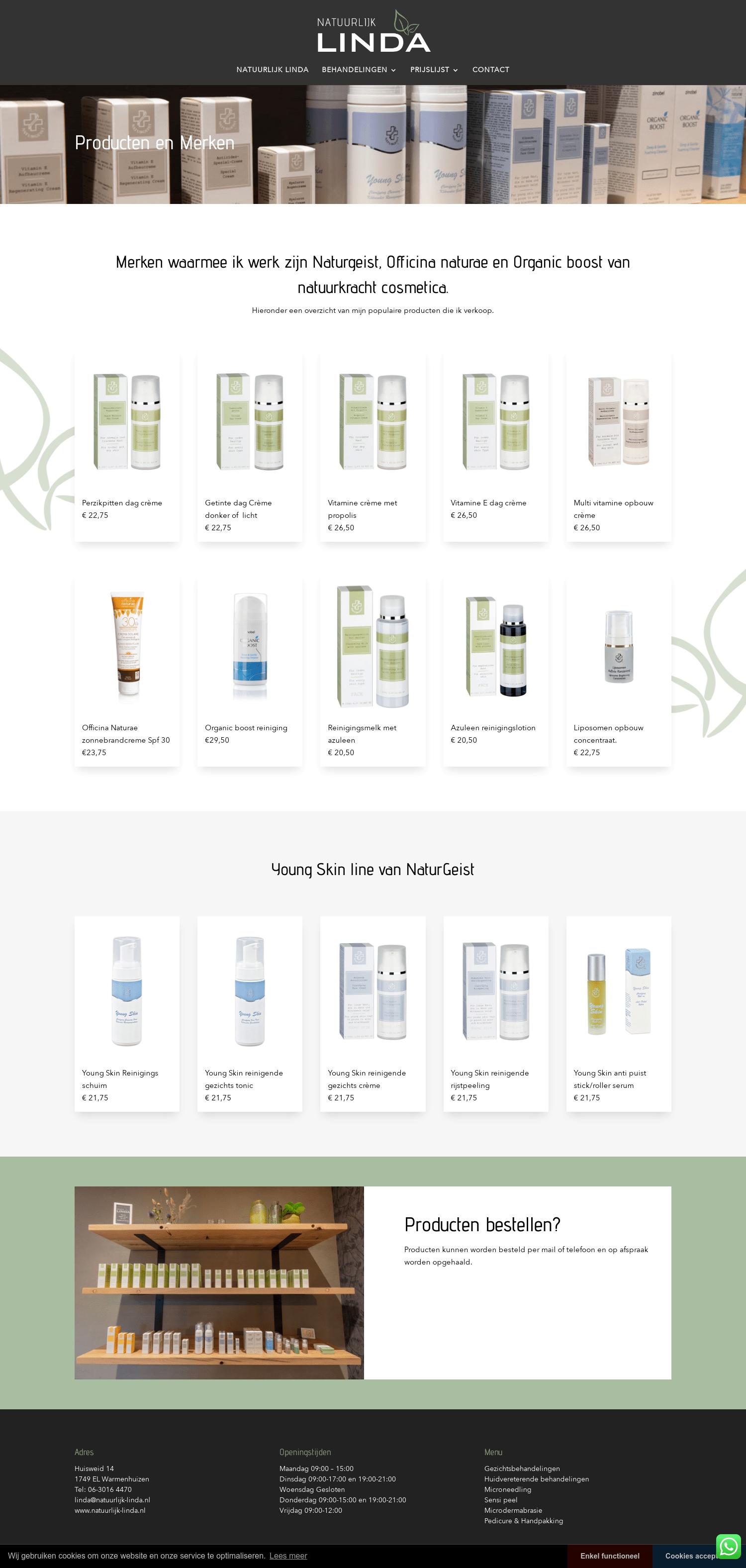 Producten en Merken Schoonheidssalon Natuurlijk Linda